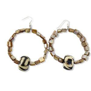 Boho Hoop Earrings Brown Beads Bone Handmade